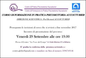 Read more about the article 29 Settembre 2017 – Presentazione del corso a Milano