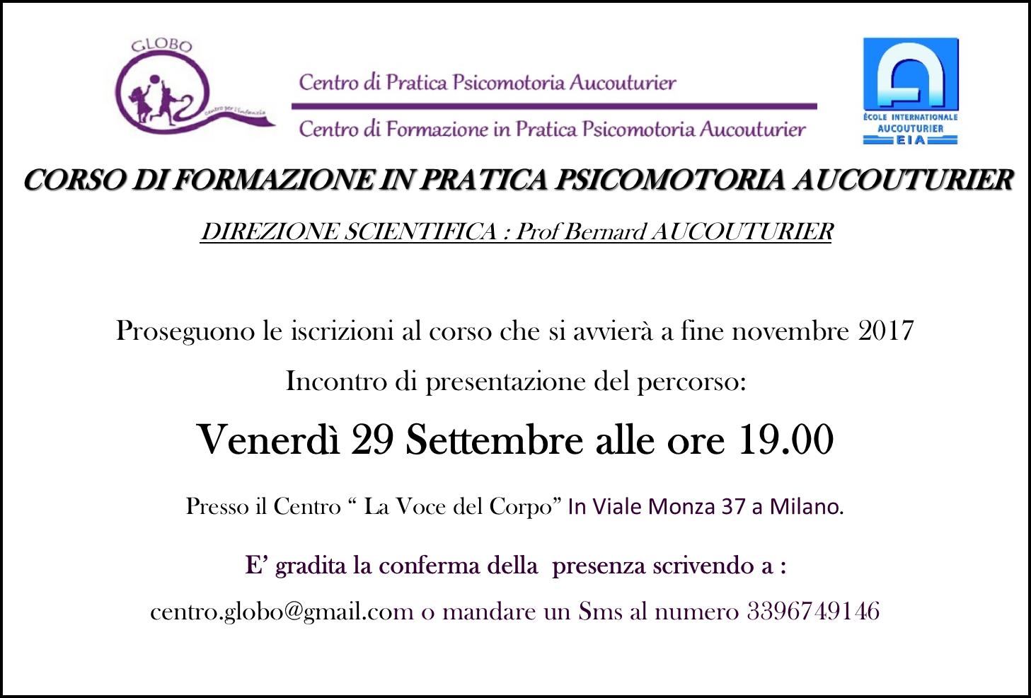 29 Settembre 2017 – Presentazione del corso a Milano